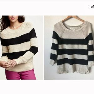 LOFT CASUAL CHIC BOLD-STRIPE COLORBLOCK SWEATER